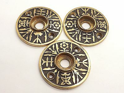 Fine Antique Brass Door Knob Floral Patterned Backplates ~Set Of 3~