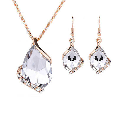 Teardrop Cut Rhinestone Gold Plated Hook Earrings Pendant Necklace Jewelry Sets
