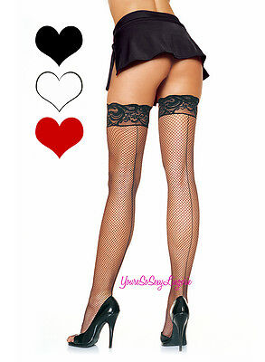 """Plus Size STAY-UP Back Seam FISHNET Stockings 3"""" Lace Top LYCRA Thigh High QUEEN"""
