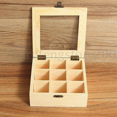 9 Compartments Wooden Tea Storage Box Container Case with Glass Top Chest Tin