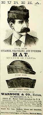 1875 Ad Antique Steamer Traveling Hat Cap Warnock Hatters Victorian Fashion Men
