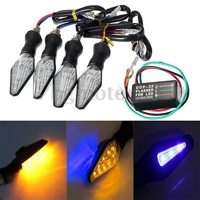 4X 12V Clignotants Indicateurs Feux Signal 9 Ambre & 3 Bleu Led Smd+ Relais Moto