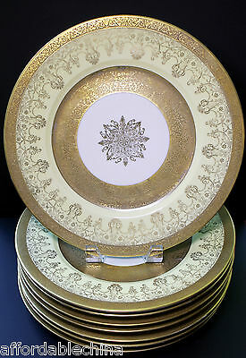 Hutschenreuther Yellow Gold Encrusted Set of 8 Cabinet Plate Plates - 10 3/4""