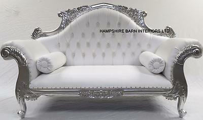 Ornate French Silver Louis Cuddler White Faux Leather Double End Chaise Sofa