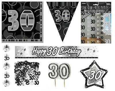 30th Birthday/Age 30 - BLACK/SILVER Party Items, Decorations, Tableware