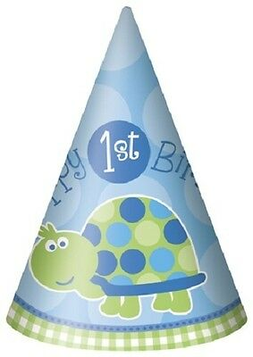 First (1st) Birthday (Boy) TURTLE 8 Cone HATS (Celebration/Party/Kids)