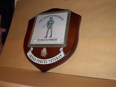 The Queen's Regiment Veteran with SLR Wall Plaque personalised.