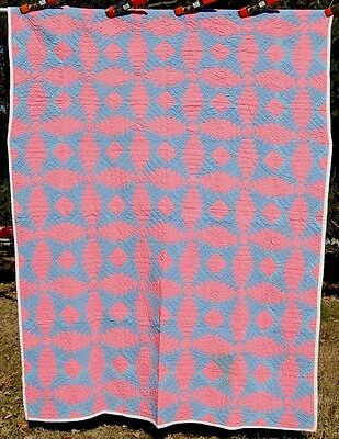 Vintage 30's Windmill Blades Pineapple Hand Stitched Log Cabin Antique Quilt!