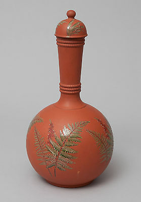 Antique Watcombe Terracotta Pottery Devon Red Ware Vase with Ferns c1875