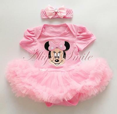 789e7690a6c5 2PCS Baby Girls Minnie Mouse Clothes Newborn Romper Tutu Dress Headband  Outfits