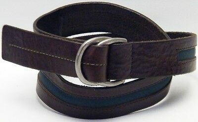 """Double C Ring Brown Leather Green Fabric Insert Jeans Casual Wrap Belt Size 28"""""""