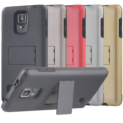 For Samsung Galaxy Note 4 Hybrid Kickstand Case Cover + Clear Screen Protector