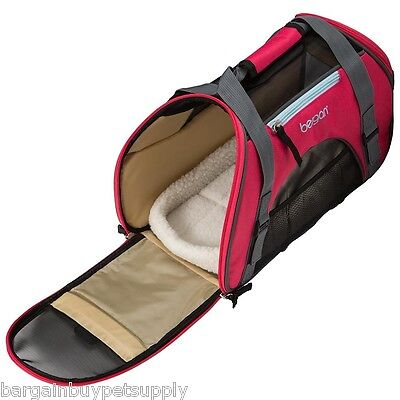 Bergan Dog Cat Pet Airline Comfort Carrier Tote with Fleece Bed Small Pink Berry