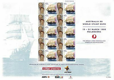 1999 Australia The World's First Personalised Stamps Sheet of 10 w.ngtv.sh. Rare