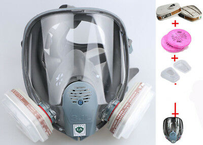 7 in 1 6800 Gas Mask Full Face Facepiece Respirator Suit Painting Spraying Veil