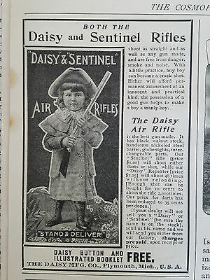 1901 Vintage Daisy and Sentinel Air Rifle Little Girl Original Ad