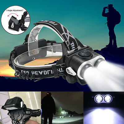 30000Lm Elfeland Headlight 2x T6 LED Rechargeable Headlamp Head Torch USB 18650