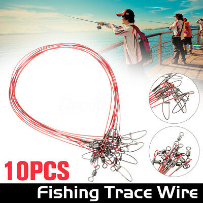 Fishing Lures Stainless Steel Trace Wire Leader Spinner Swivel Line 50cm 50Kg