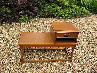 Old vintage mid century Oak hall Telephone seat table with drawer