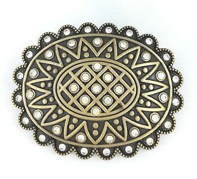 Vintage Gold Alloy Tribal Crystal Sun Floral Womens Western Belt Buckle GIFT BOX