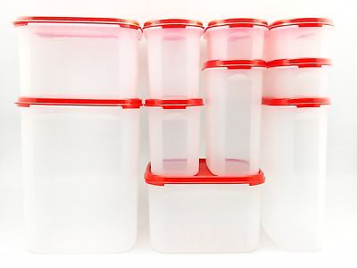 Tupperware Modular Mates 10x Oval & Square Mix Pantry Airtight Container Red