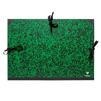 Clairefontaine : Green Marbled Folder with Ties : A2+ : 47x62cm