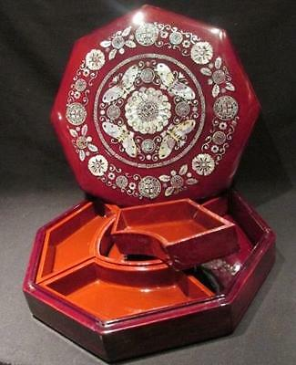 Oriental Design Mother of Pearl Inlay Top Red Lacquer 5 Piece Inside Snack Set