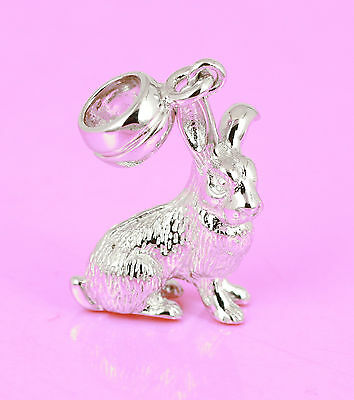 SOLID 925 Sterling Silver RABBIT BUNNY Charm BEAD Pendant Fit Bracelet / Chain