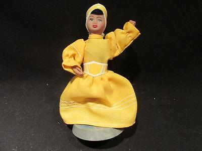 "Caribbean Doll In Traditional Yellow & White Costume on Plastic Stand 5 1/2"" Tal"