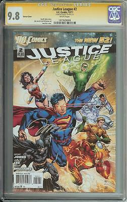 Justice League #2 Dc New 52 Ss Cgc 9.8 Variant Cover Signed Jim Lee
