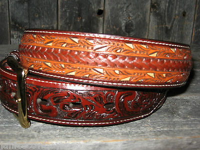 3D Mens Western Belt Leather Floral Cut Braided Strip  Rodeo  Dress Belt 36 5634