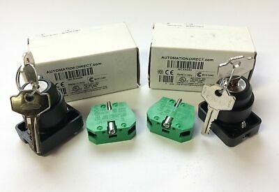 Lot of 2 New In Box Automation Direct GCX3420 Key Selector Switches, 2-Position
