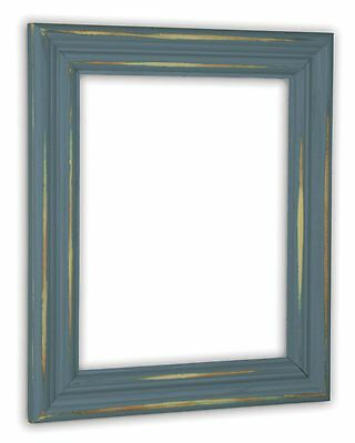 Distressed Slate Blue Picture Frame - Solid Wood