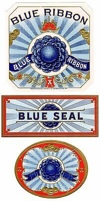 Cigar Box Label Vintage Original C1930S Out Blue Ribbon Typography With Tags