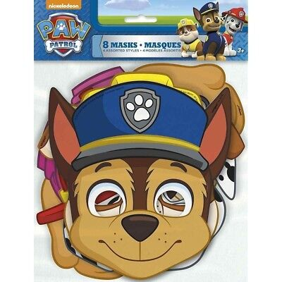 Paw Patrol 8 Paper Face Masks Birthday Party 4 designs Skye