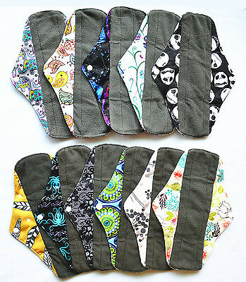 3 LONG Panty Liners CHARCOAL Bamboo Reusable Cloth Mama Menstrual Pads 10in