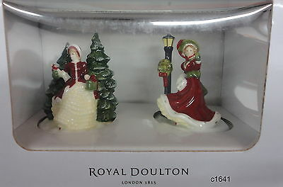 Royal Doulton Winter Day Christmas Night Mini Figurine Set of 2 - New In Box