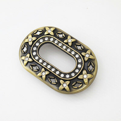 Vintage Gold Alloy Crystal Floral Belt Buckle Womens Oval FREE GIFT BOX NEW