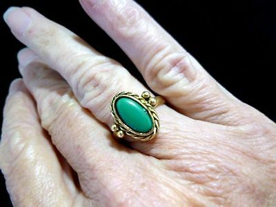 VTG-1950's-60s-NEW/Old Stock Antique Bronze Faux Jade Motif Ring