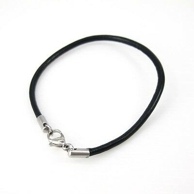 3mm Black Leather Surfer Wristband Bracelet Silver Stainless Steel Lobster Clasp