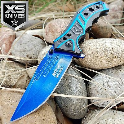 "8"" MTECH Tactical Spring Assisted OPEN BLUE Blade COMBAT FOLDING Pocket Knife"