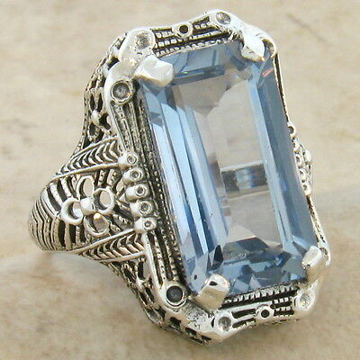 8 Carat Sim Aquamarine .925 Sterling Silver Antique Style Ring Size 5, #339