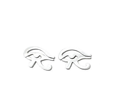 Silver Stainless Steel Egypt Eye Of Horus Ra Egyptian Stud Earrings Jewelry