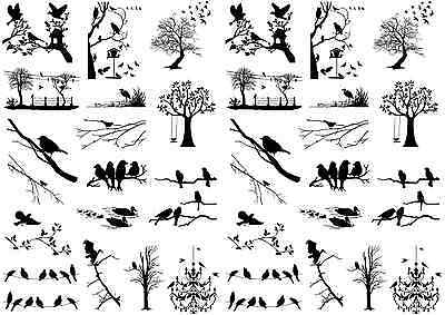 "Bird Santuary 5""X7"" Card Black Fused Glass Decals 15CC465"