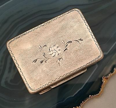 Engine Turned Floral Sterling Silver Pill / Snuff Box .800 c1920 SWISS - L015