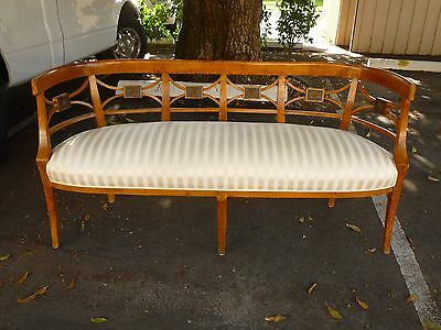 Super Chic 19Th C Italian Roman Style Neoclassical Fruitwood Settee Or Bench
