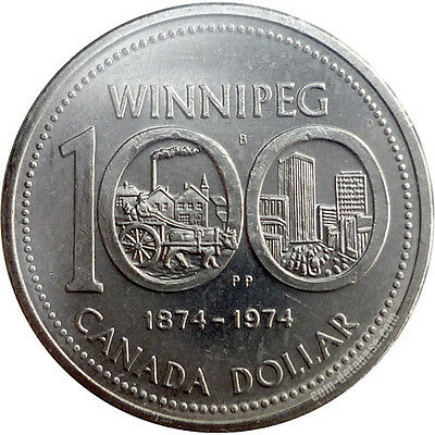 Canada 1974 One Dollar Coin Commemorating 100 Yrs City Of Winnipeg.