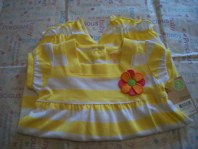 Carters Yellow & White  Romper Baby Girls  Nwt Flower