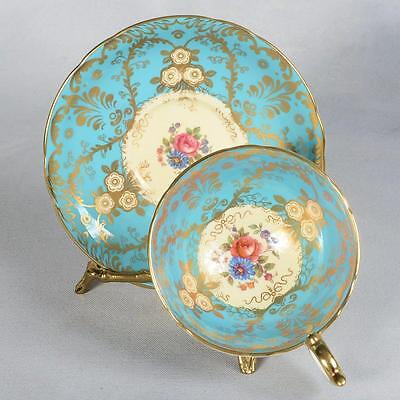 """Aynsley """"royalty"""" Teacup & Saucer - Robin Egg Blue Decorated With Gold Filigree"""