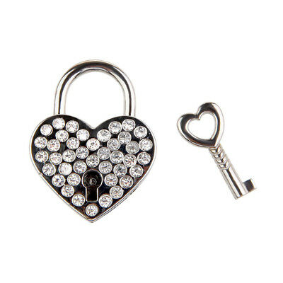 1×New Small Crystal Padlock Mini Travel Suitcase Bag Diary Lock Key Silver